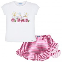 Perfumes Print T-Shirt and Skirt Set