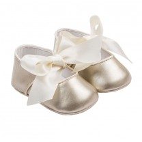 Baby Girls Soft Gold Bow Faux Leather Shoes