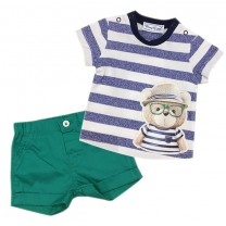 Stripe Top Green Short Set