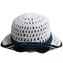 White & Blue Straw Hat