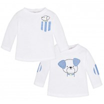 Baby Boys White and Blue Printed Tops Set