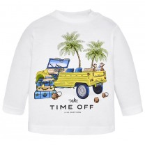 White Long Sleeved Graphic Printed T-shirt