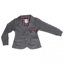 Dark Grey Blue Blazer with Knitted Sleeves