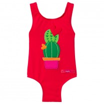 Red Cactus Print Swimsuit