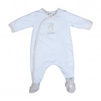 Baby Blue Bunny Print Crossover Babysuit