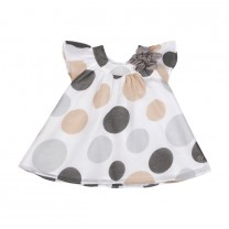 White Grey Optical Polka Dot Dress