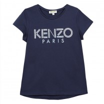 Navy Blue Metallic Logo Cotton T-shirt