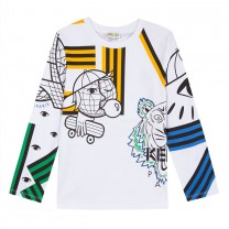 White with Multicolored Tiger Print Long Sleeved Jersey Top