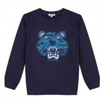 Navy Tiger Motif Sweatshirt
