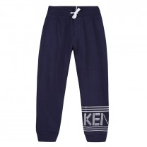 Navy Blue Drawstring Logo Print Sweatpants