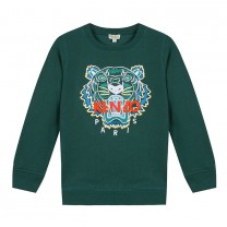 Green Cotton Tiger Sweatshirt ( 2- 12 years)