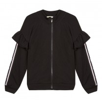 Black Ruffled Logo Tape Zip-Up Jacket