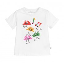 Girls White Hedgehogs Cotton T-Shirt