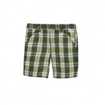 Green Check Linen Bermuda