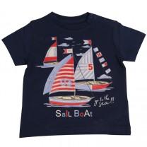 Blue Boat Print T-Shirt
