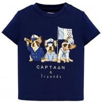 Blue Sailor Puppies Print T-Shirt