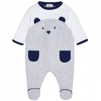 Grey Cotton Bear Babygrow