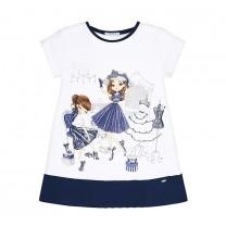 Navy Blue Doll Printed Dress