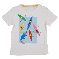 Cream Multi Boats Print Short Sleeve T-Shirt