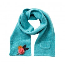 Blue Turquoise Flower Wool Scarf