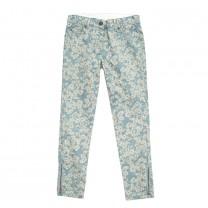Blue Daisy Print Skinny Jeans