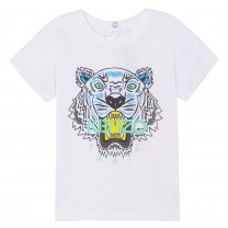 White Blue Tiger Print T-Shirt (2-12 years)