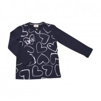 Navy Heart Long T-Shirt