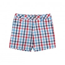Red, Blue & White Checkered Bermuda Shorts