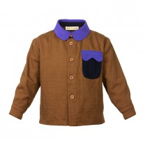 Brown Purple Linen Shirt