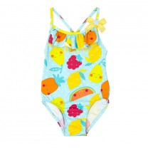Turquoise Blue Fruit Patterned Swimwear