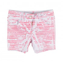 Pink Washed Stripes Shorts
