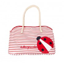 Cherry Print White Beach Bag