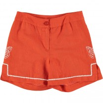 Red Kae Linen Shorts