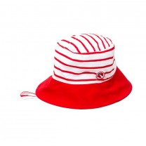 Girls Red Striped Sun Hat
