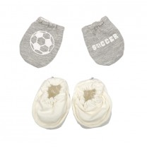 Grey Soccer Baby Gloves Set