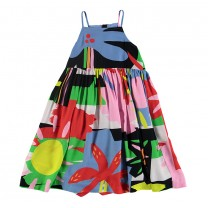 Flowers Multi-colored Strap Cotton Dress