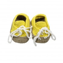 Yellow Ribbon Knitted Slip on Shoes
