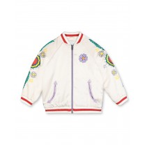 White Embroidered Bomber Jacket