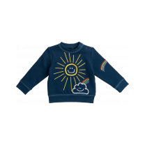 Navy Embroidered Sun Baby Sweater