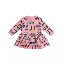 Pink Happy Notes Cotton Dress