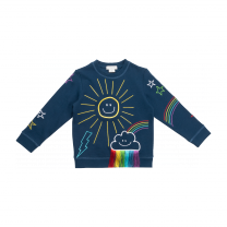 Navy Embroidered Sun Sweater