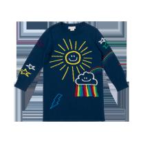 Navy Embroidered Sun Dress