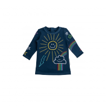 Navy Embroidered Sun Baby Dress