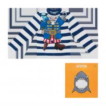 Blue & White Pirate Stripes Swim Top