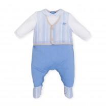 Blue Vest Stripes Babysuit