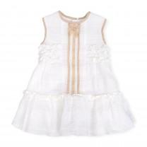 White and Gold Sleeveless Dress
