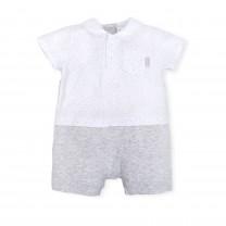 White and Light Grey Babygrow