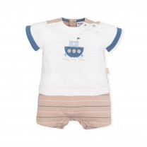 White and Brown Boat Babygrow