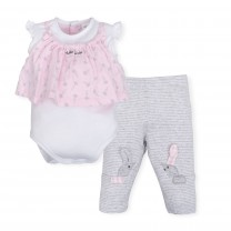 Soft Pink and Grey Bunny Babygrow Sets