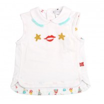 White and Tosca Sleeveless Babygrow